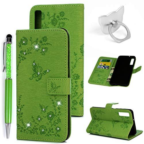 A7/A750 2018 Handyhülle Flip Case für Samsung Galaxy,Idlehour PU Leder Case Cover Magnet Schutzhülle Tasche Skin Ständer Handytasche,Grün Diamant