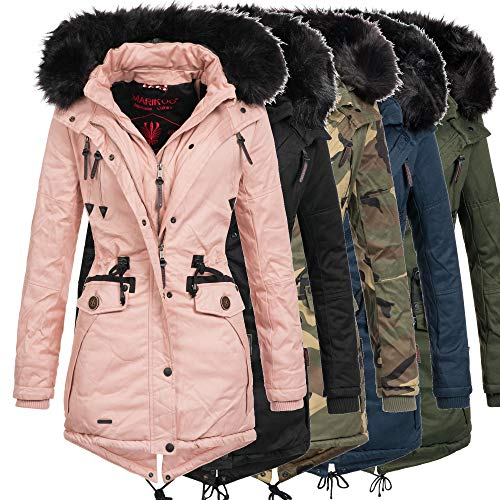 sports shoes 0821a ba31f Marikoo Damen Winter Jacke Mantel Winterjacke warm gefüttert Wintermantel  Parka Baumwoll Double Zipper Rose50 XS-XXL 8-Farben