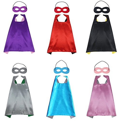 Signstek 6 Set Superman Umhang Kostüm für Kinder Cape + Maske (Up Set Lila Dress)