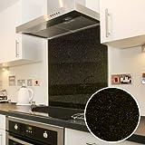 Premier Range Galaxy Granite Designs Heat Resistant Toughened Safety Glass Splashback (60cm x 70cm, Black Galaxy Granite)