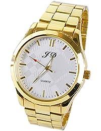 Culater® Reloj de Pulsera de Acero Inoxidable CláSico de Cuarzo AnalóGico Nueva Hombres de Lujo de Oro(blanco)