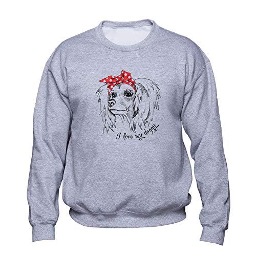 EUGINE DREAM Chinese Crested I Love My Doggy Unisex Sweatshirt Grau 3XL Chinese Crested Dog Sweatshirt