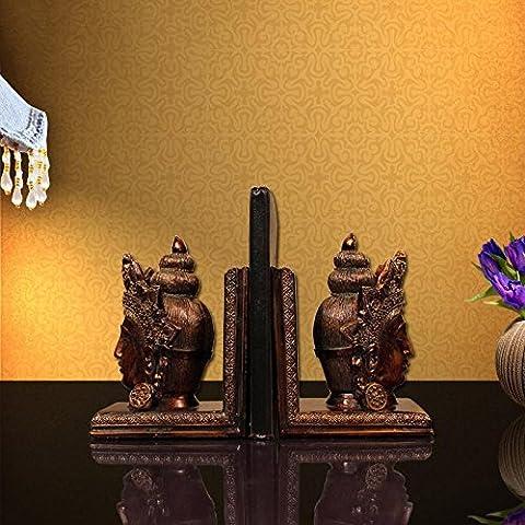 Du lijun 2016 Decoración hogar ideas resina artes salón estudio sujetalibros cabeza de Buda , 28*10*19