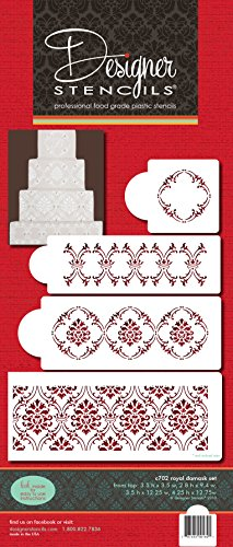 Designer Stencils C702 Royal Damask Cake Stencil Set, Beige/semi-transparent -