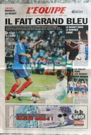 EQUIPE (L') [No 17980] du 11/09/2003 - FOOT - MONACO - LE FOOT A L'EURO - LE BASKET - LE VOLLEY VERS LES DEMIES. par Collectif