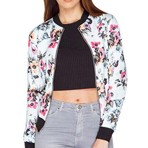 Outwear Btruely Damen Jahrgang Blazer Jacke Mantel Beiläufig Drucken Reißverschluss Bluse (XL, Weiß) (Paisley Cami)
