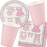Reegen/Carpeta 73-TLG. Party-Set * Baby Girl * für eine Baby-Party zur Geburt | mit Teller + Becher + Servietten | Deko Kind Motto Geburtstag Nachwuchs Mädchen Pink