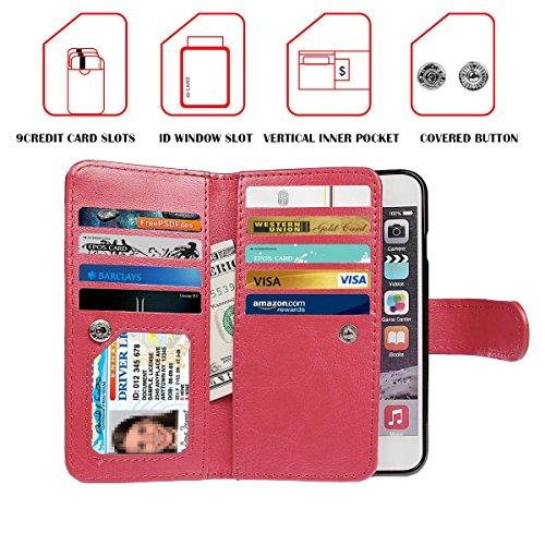 """iPhone 6 (4.7"""")Hülle wallet case,xhorizon TM FM8 2 in 1 Premium Leder [Brieftasche Funktion] [Magnetisch Abnehmbar] Wristlet Geldbörse Mehrfache Karten-Schlitze Abdeckung Folio Schutzhüller für iPhone Rote"""