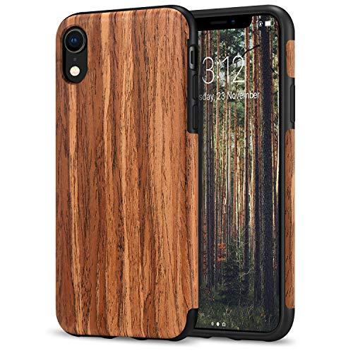 TENDLIN iPhone XR Hülle Holz & Flexiblem TPU Silikon Hybrid Weiche Schutzhülle Kompatibel mit iPhone XR (Rotes Sandelholz)