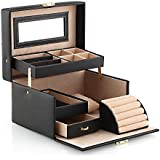 Amzdeal Black Faux Leather Jewellery Storage Box Jewellery Display Case Organizer for Rings, Earrings, Necklaces, Bracelets and Other Trinkets
