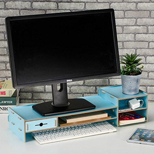 dreamaccess aus Holz gemachte TV Laptop PC Monitor Stand, extra Schublade, Handy Tasche, Bücherregal, Pen Box, täglich Stuff Organizer mehrfarbig blau Medium Blau Bücherregal