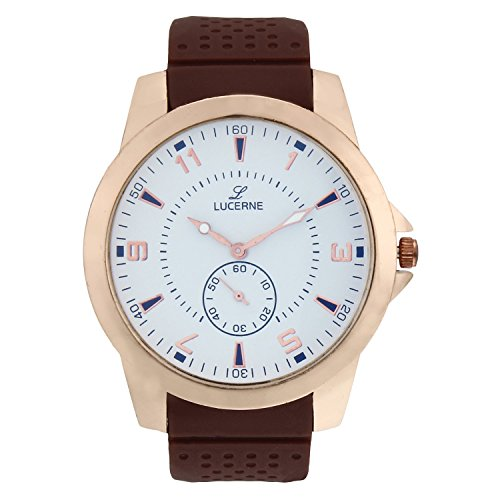 LUCERNE Analogue Off White Designer Dial Brown Leather Strap Casual Watch For Men A Modern Men Watch Gifts For...
