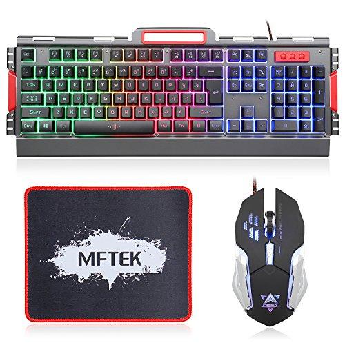 LED Tastatur und Maus Set MFTEK Beleuchtet USB QWERTY US Layout Handyhalter Gaming Tastatur mit Maus Combo für Office-Gaming-PC-Computer