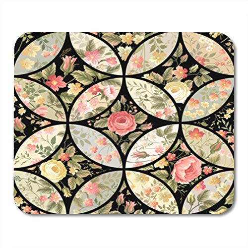 HOTNING Gaming Mauspads, Gaming Mouse Pad Flower Patchwork Floral Pattern Quilt Abstract Black Blossom Bouquet 11.8