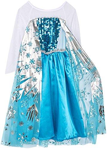 Kostüm Kleinkind Für Elsa - Mädchen Eiskönigin / Schneeprinzessin Kostüm mit Schneeflöckchen Druck - Blau/Silber/Weiß - Gr. 122-128