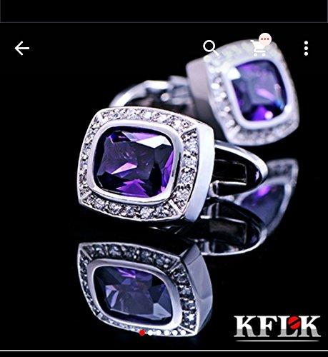 Herren Vintage Manschettenknöpfe Deluxe violett Kristall Saphir Faux Diamanten Platinum Platiniert Tasten gamelos