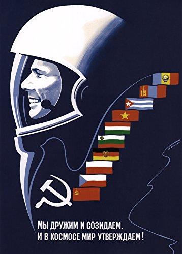 Somos creativos y amable e inteligente. Estamos haciendo espacio para estar tranquilo para siempre!, 1960's Rusia Unión Soviética Cosmos Propaganda Reproducción sobre Calidad 200gsm de espesor en Cartel A3 Tarjeta