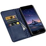 ZOVRE iPhone 6S/6 Plus Hülle Echt Leder Tasche für iPhone 6S/6 Plus(5.5 Zoll) Handyhülle im Bookstyle mit Magnet Kartenfächer Standfunktion - Marineblau