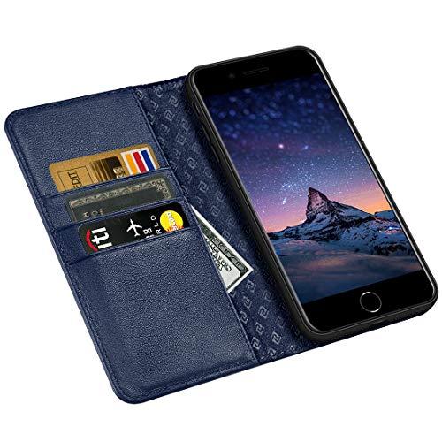 ZOVRE Kompatibel für iPhone 8 7 Echt Leder Tasche Kompatibel für iPhone 8 7 (4.7 Zoll) Handyhülle im Bookstyle mit Magnet Kartenfächer Standfunktion - Marineblau