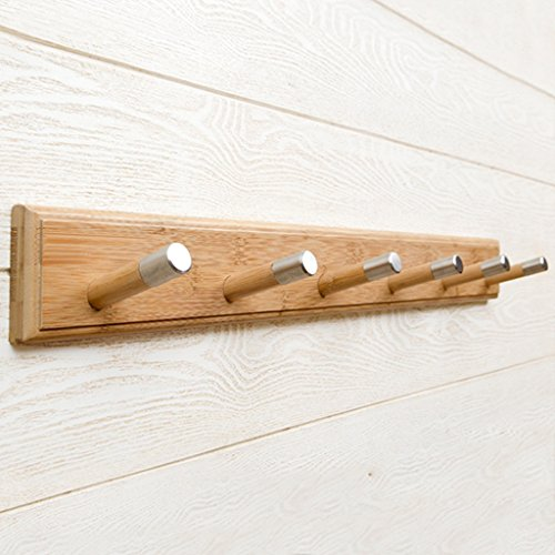Wall-mounted Coat Rack-regal (Wooden Rail - Coat Rack mit 6 Haken für Jacken, Roben, Schals und Handtücher - Wooden Wall Mounted Coat Rack ( Farbe : Natürlich ))