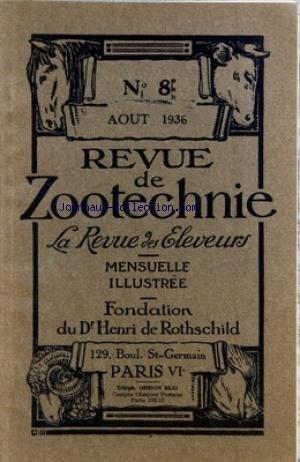 REVUE DE ZOOTECHNIE (LA) [No 8] du 01/08/1936