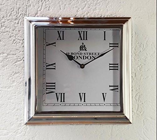 Michael Noll Wanduhr Uhr Clock Edelstahl weiß Silber Luxus XL 32 cm