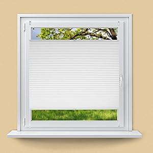 ECD Germany Plissee 55 x 150 cm - Weiß - Klemmfix - EasyFix - ohne Bohren - Sonnen- und Sichtschutz - für Fenster und Tür - inkl. Befestigungsmaterial - Jalousie Faltrollo Fensterrollo Rollo