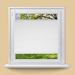 ECD Germany Plissee 55 x 200 cm - Weiß - Klemmfix - EasyFix - ohne Bohren - Sonnen- und Sichtschutz - für Fenster und Tür - inkl. Befestigungsmaterial - Jalousie Faltrollo Fensterrollo Rollo
