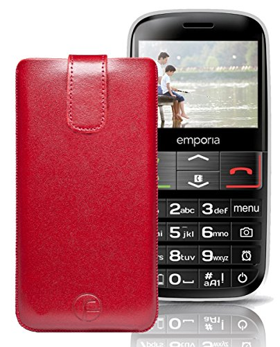 Favory ECHT Ledertasche Leder Etui / Emporia V50 Tasche (Lasche mit Rückzugfunktion) rot