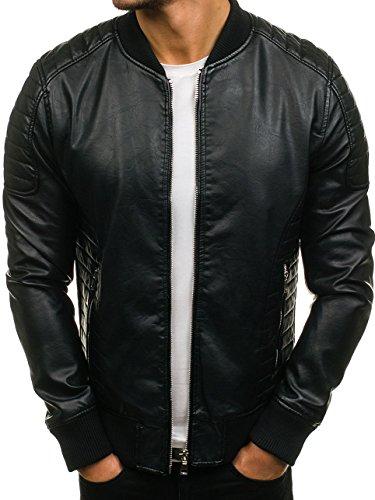 FEIFA FASHION 9150 Negro M [4D4] Hombre Chaqueta Multipurpose Cuero Imitación Cuello Bolsillos
