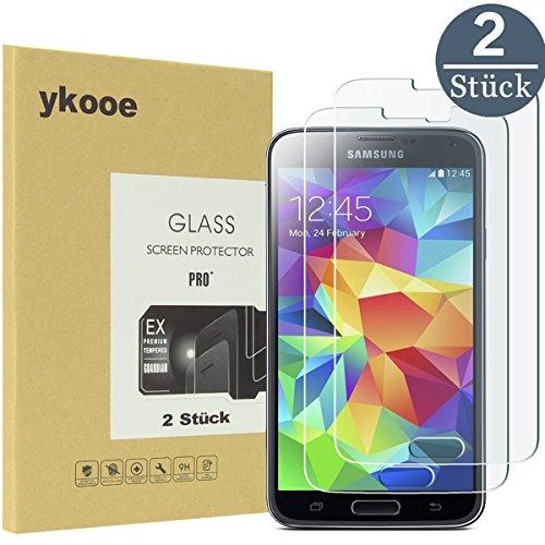 ykooe Bildschirmschutzfolie für Samsung Galaxy S5 Schutzfolie, Glas-Folie Klar Full Screen Panzerglas für Samsung Galaxy S5 Panzerglasfolie (2 Stück)