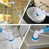 Scrubber Multifunktions-Akku-Scheuersaugmaschine mit 3 Austauschbaren Bürstenköpfen und Ausziehbarem Griff Für Küche Badezimmer WC
