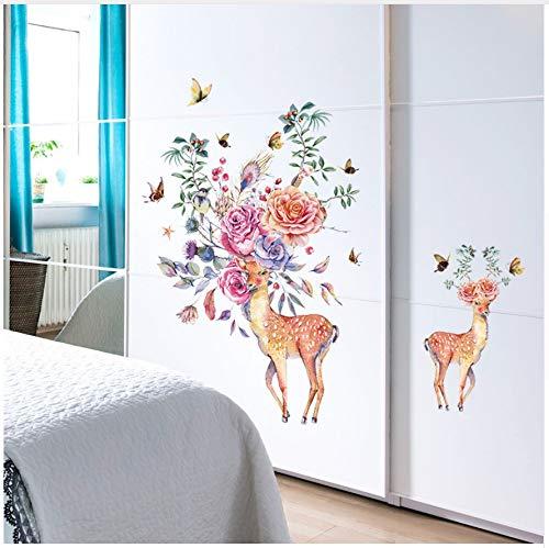 HAJKSDS Wandtattoos Wandbilder Hand Gezeichnete Rose Deer Wandaufkleber Eingang Garderobe Restaurant Wand Dekor Autocollant Wandbild
