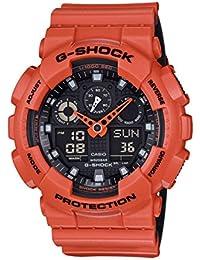 Casio Men's G-Shock GA100L-4A Orange Silicone Quartz Sport Watch