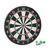 Relaxdays 10021465 Bersaglio Board X1 Freccette, 43 cm, Tabellone Double-Face, 6 Frecce in Acciaio, Classico, Bianco-Nero