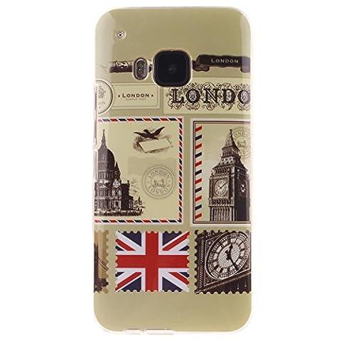 Meet de enveloppes Londres pour HTC One M9 Housse, Soft TPU Doux Silicone Bumper Case Coque