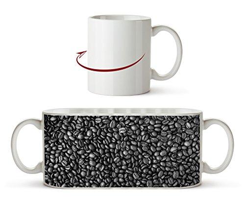 viele Kaffeebohnen Effekt: Schwarz/Weiß als Motivetasse 300ml, aus Keramik weiß, wunderbar als...