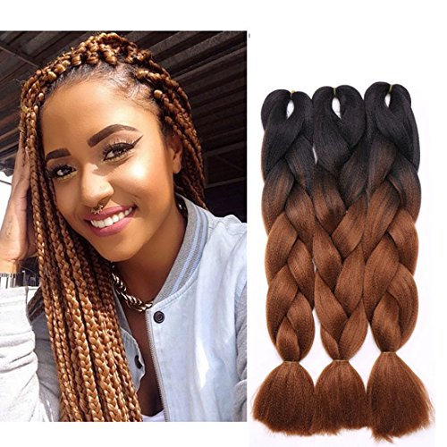 Haarverlängerung 60cm Crochet Braids Two Tone Ombre Braiding Haar Synthetik Braid 3 Pcs/300g Schwarz bis Rotbraun