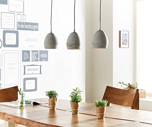 Deckenleuchte Cirillo Grau 70x15 cm 3 Schirme Beton Hängeleuchte