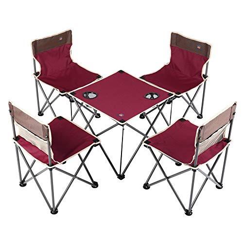 Eduton Aotu Compact tragbare Falten Camp Stühle Tisch Set (4 Stühle + 1 Tabelle) -