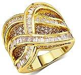 18k Vergoldet Ringe, Damen Hochzeit Bands Gold Hohl Rhinestein Inlay Gr.51(16.2) Epinki