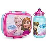Disney Brotbox-Set zum Mitnehmen von Frühstück mit Brotdose und Trinkflasche für Kinder – Pausenset (Frozen)