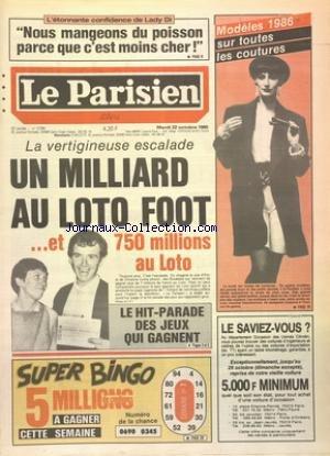 PARISIEN LIBERE (LE) [No 12784] du 22/10/1985