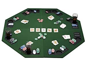 """eSecure 1.2m/48"""" Large Poker Table Top for 8 Players with Poker Chip Trays and Drink Holders (Foldable)"""