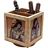 A Wooden Revolving Pen Stand with Traditional Paintings on All Three Sides