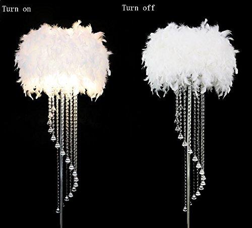 MENA HOME- Feder Fußboden Lampe Metall Kristall Troddel E27 LED Fußboden Licht Klassisches Dekoratives Geschenk Fuer Wohnzimmer Hochzeits Raum Schlafzimmer Studierzimmer Garderobe ( Farbe : Weiß ) - Auf Eine Feder Stehlampe