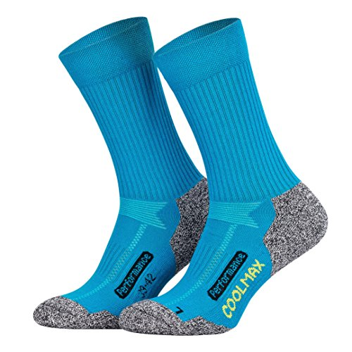 Piarini 2 Paar Coolmax Wandersocken Outdoorsocken Funktionssocken lang petrol 43-46 -
