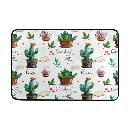 Alaza Love Kaktus Watercolor Tropical Fußmatte Indoor Outdoor Entrance Unterlegmatte Badezimmer 59,9 x 39,9 cm (Outdoor-teppich Tropical)