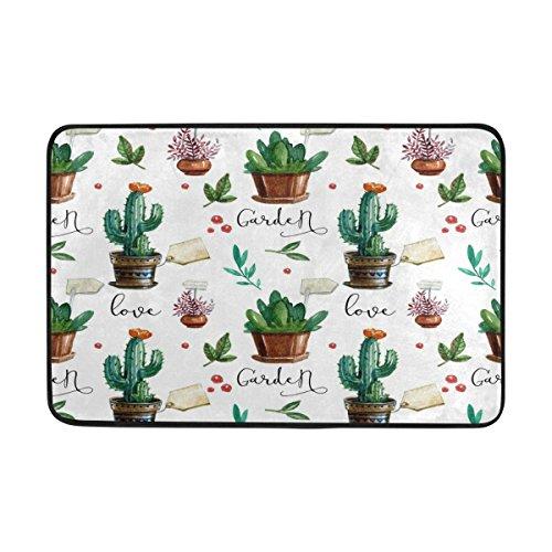Alaza Love Kaktus Watercolor Tropical Fußmatte Indoor Outdoor Entrance Unterlegmatte Badezimmer 59,9x 39,9cm (Outdoor-teppich Tropical)