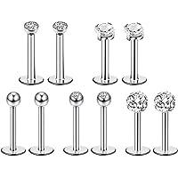 Liuxn 5 Stili 16 Gauge Naso a Bottone in Acciaio Inossidabile Trago Barretta Piercing del Labbro Barretta Cristallo a…
